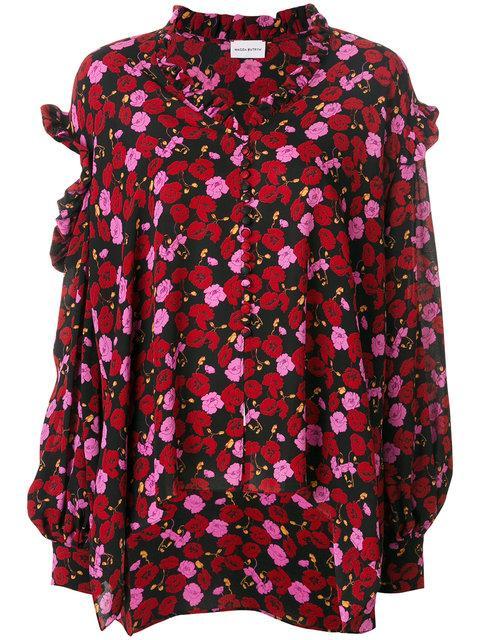 Magda Butrym Forli Printed Silk Blouse In Piek