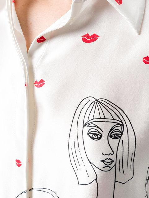 Victoria Victoria Beckham Portrait And Lips Doodle Print Silk Satin Shirt In Multicoloured