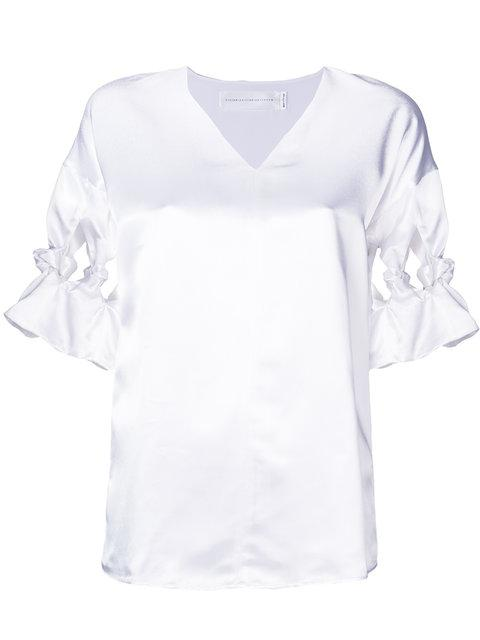 Victoria Victoria Beckham Twisted Sleeves Detail Top In White