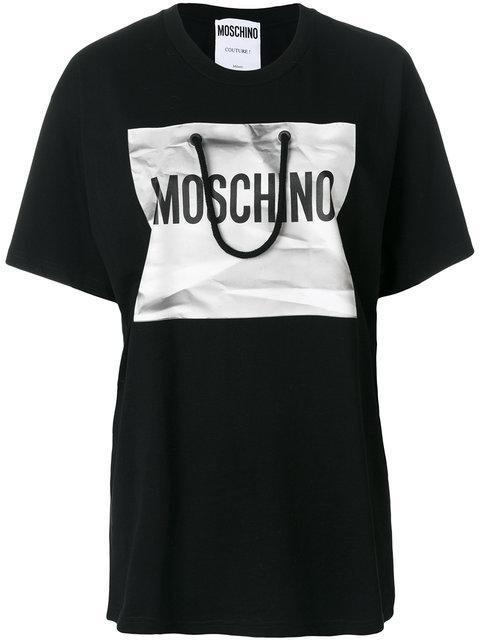 Moschino Oversized Cotton T-shirt In Black