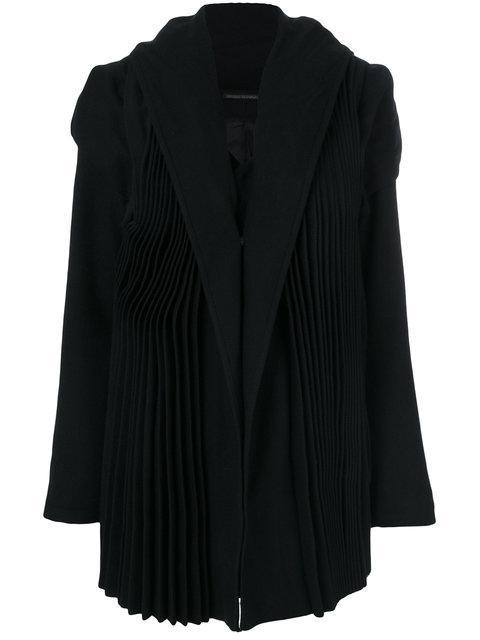 Yohji Yamamoto Tailored Pleated Coat In Black
