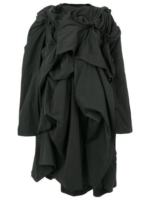 Yohji Yamamoto Frill Embroidered Coat - Black