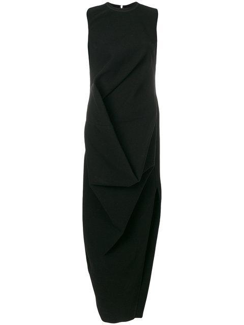 Rick Owens Sleeveless Draped Dress In Black