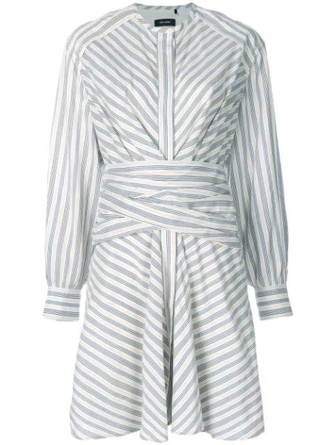 Isabel Marant Victoria Wrap Waist Silk And Cotton-blend Dress In White