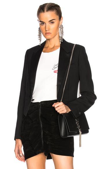 Saint Laurent Gabardine Blazer In Black