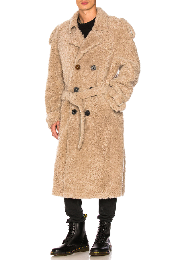Off-white Shearling Trench Coat In Beige