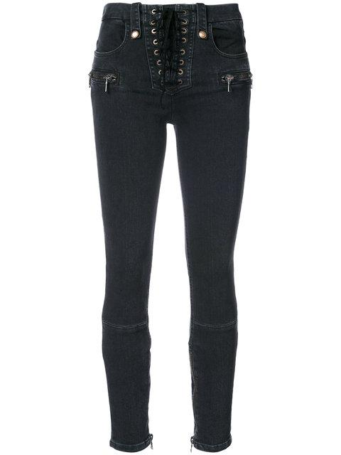 Ben Taverniti Unravel Project Unravel Lace Up Skinny Jeans In Black
