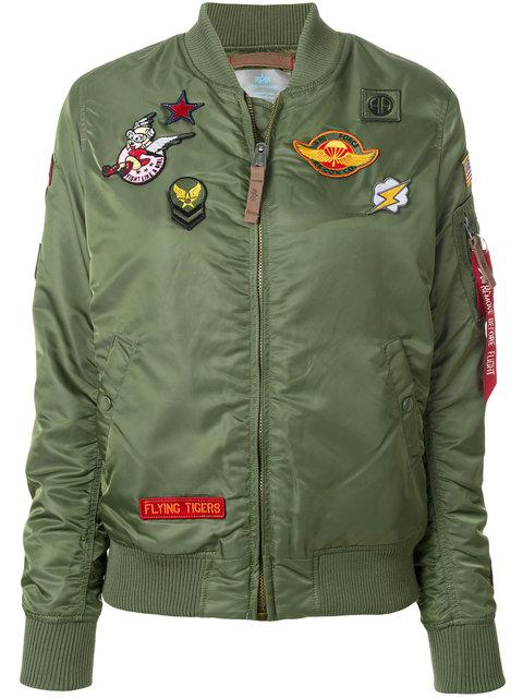 Alpha Industries Patch Detail Bomber Jacket - Green