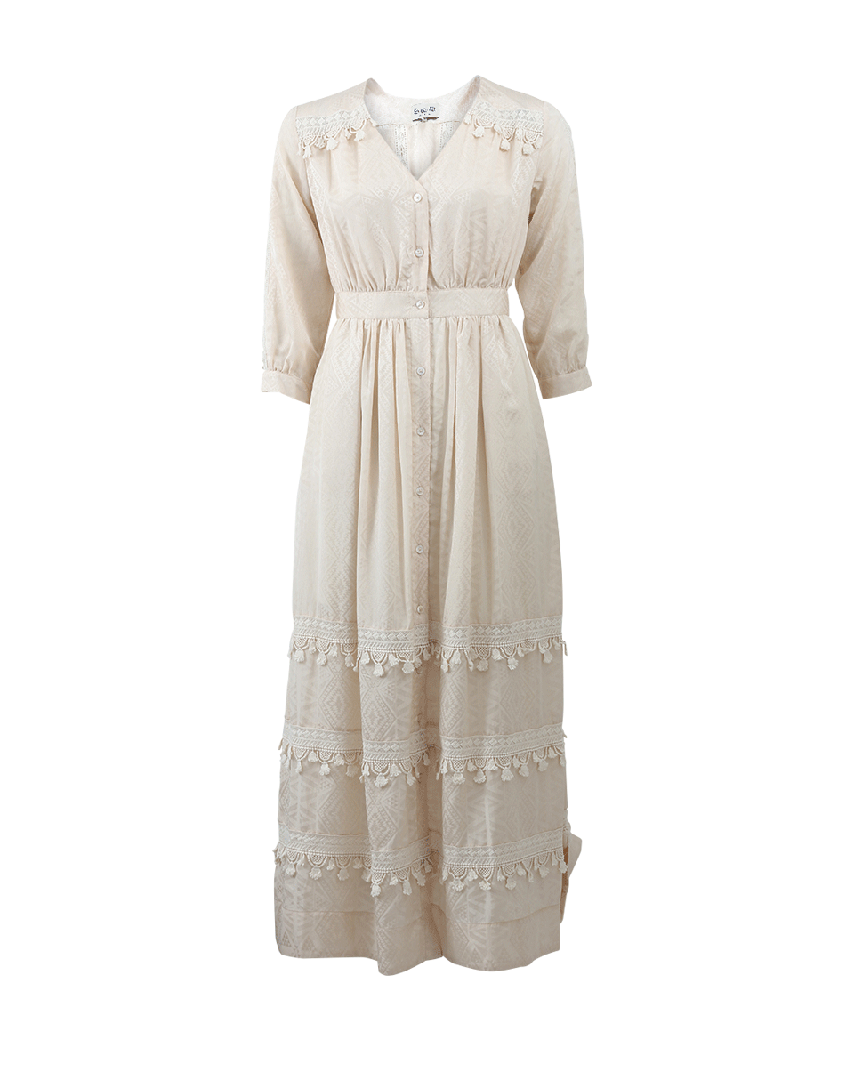Sea Button Front Maxi Dress In Ivory