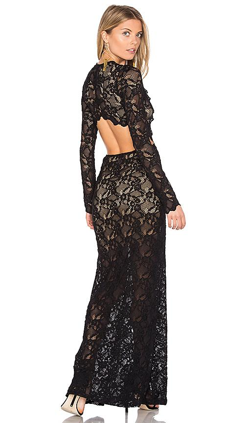 Nightcap Cut Out Wisteria Lace Gown In Black