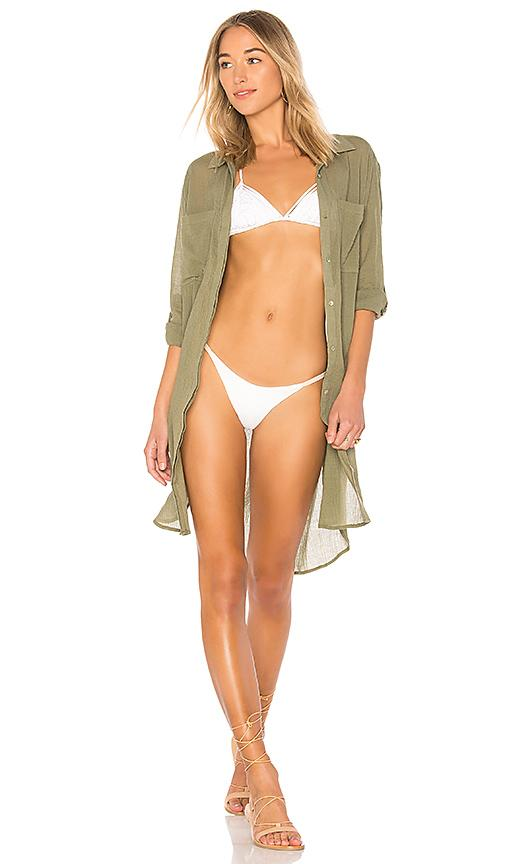 Seafolly Crinkle Twill Beach Shirt In Olive