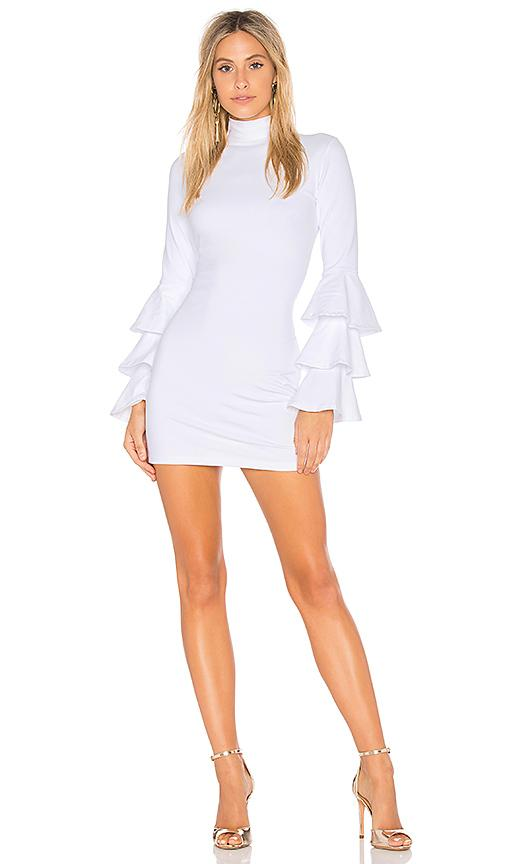 Susana Monaco Layered Ruffle Sleeve Dress In Ivory