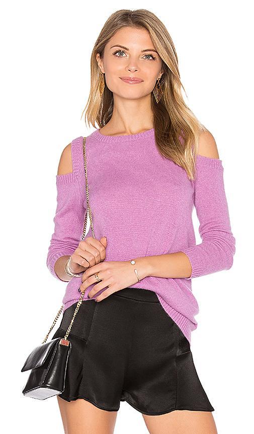 A.w.a.k.e. 27 Miles Malibu Roxanna Cold Shoulder Sweater In Purple.  In Magenta