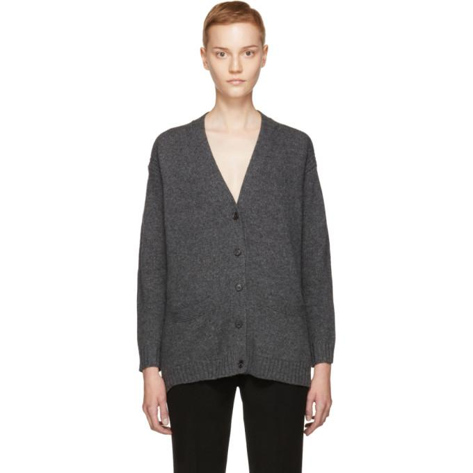 Prada Suede-trimmed Wool And Cashmere-blend Cardigan In Dark Gray