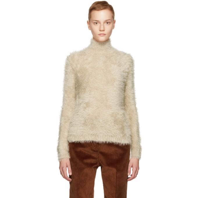 Marni Beige Hairy Knit Turtleneck Sweater