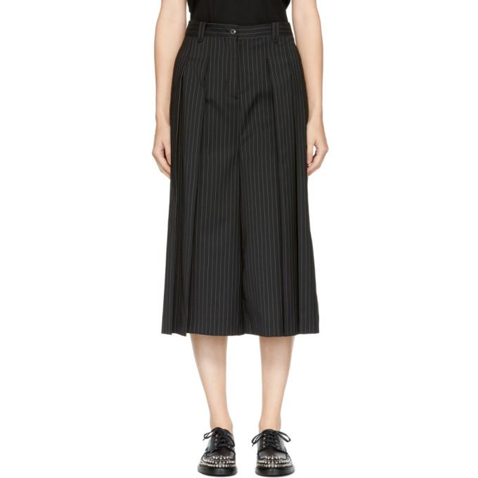 Mcq By Alexander Mcqueen Cropped Pleated Pinstriped Twill Pants In Black