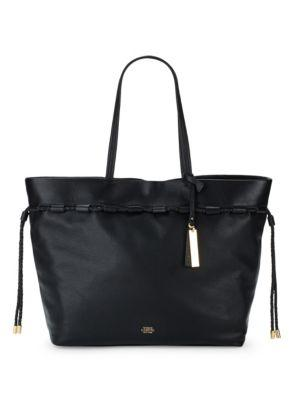 Vince Camuto Solid Leather Tote In Black