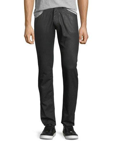 Versace Coated Straight-leg Jeans In Red/black