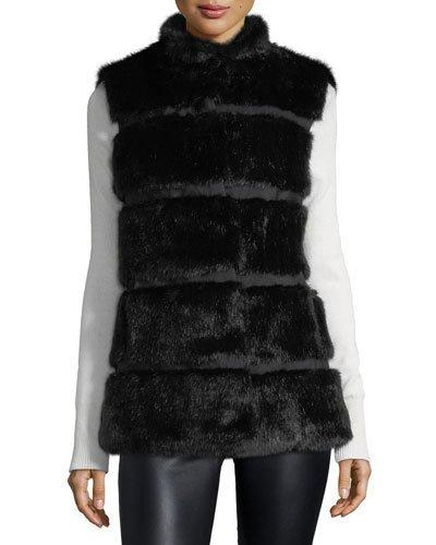Kate Spade Faux Fur Stand-collar Vest With Grosgrain Inserts In Black