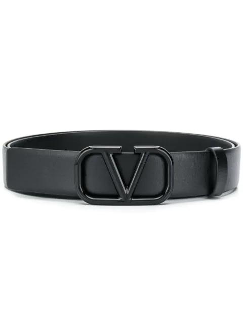 Valentino Garavani Vlogo Buckle Belt In Black