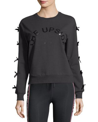 The Upside Bowie Crewneck Sweatshirt W/ Bow Details In Black