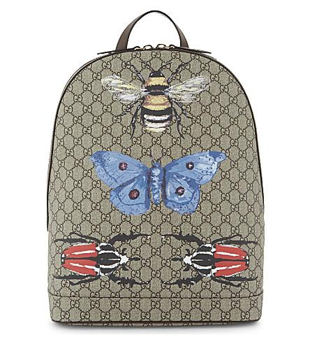 d2f7b14bea08 Gucci Gg Supreme Insect-Print Canvas Backpack In Beige / Multi ...