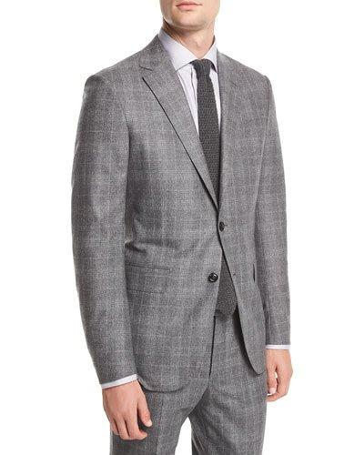 Ermenegildo Zegna Wool/silk Plaid Two-piece Suit In Gray