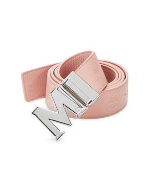 Mcm Embossed Accent Belt In Pink Blush