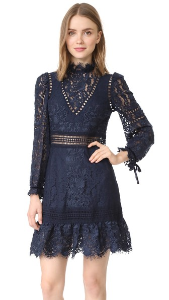 Sea Lace Embroidered Dress In Navy