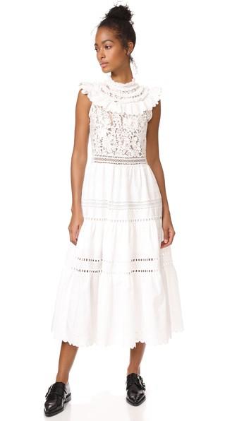 Sea Fringe Neck Combo Maxi Dress In Cream