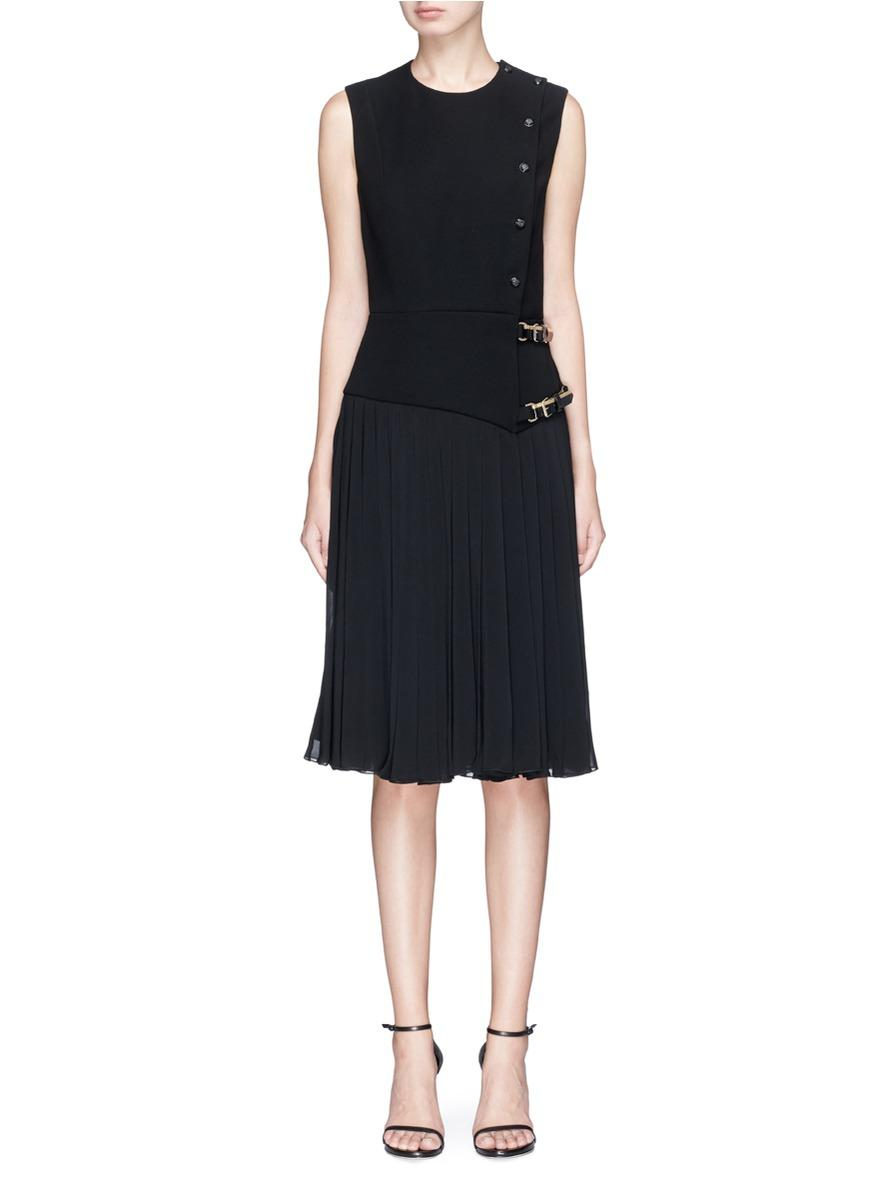 Lanvin Pleated Buckled Wrap Dress