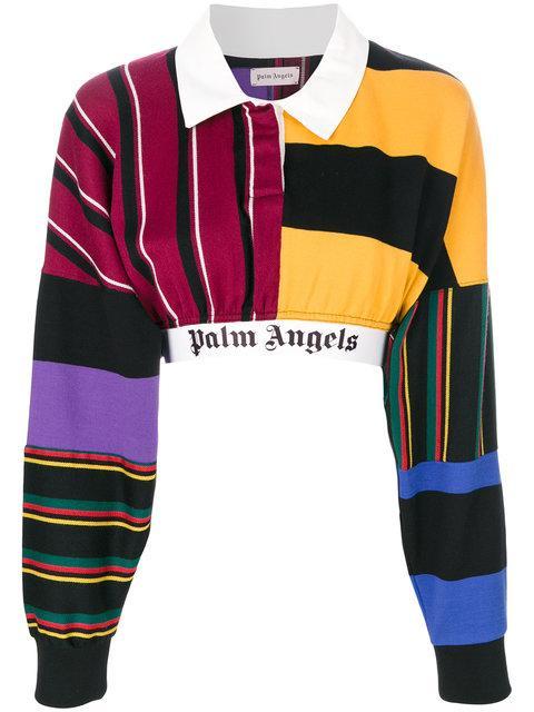 4a85267fdd9 Palm Angels Logo Print Stripe Patchwork Cropped Polo Top | ModeSens