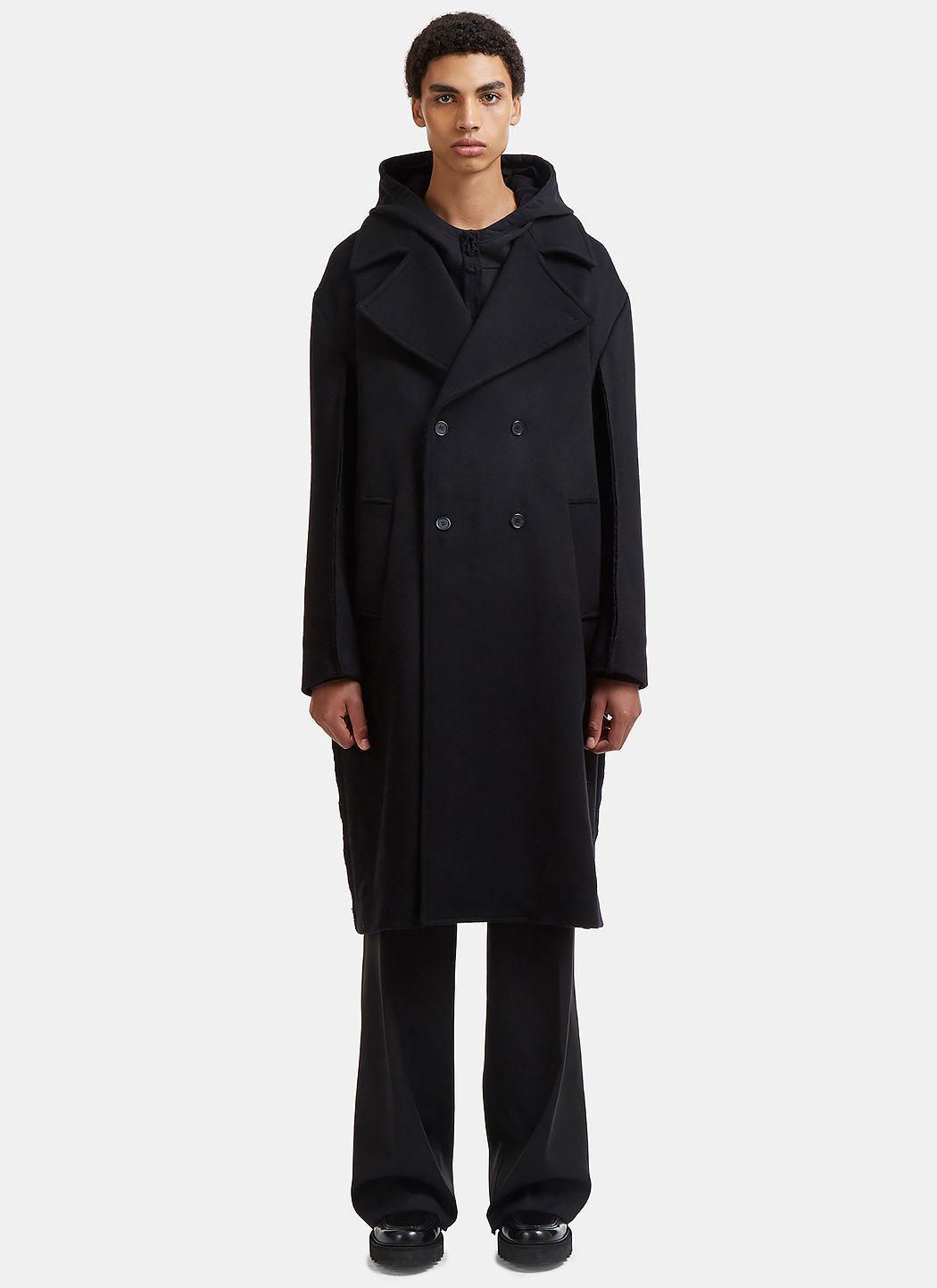 Yang Li Oversized Double-breasted Raw Seam Coat In Black