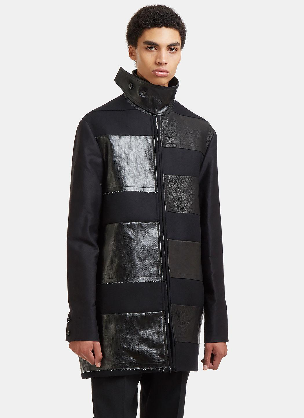 Rick Owens Jumbo Brother Leather Patch Coat In Black