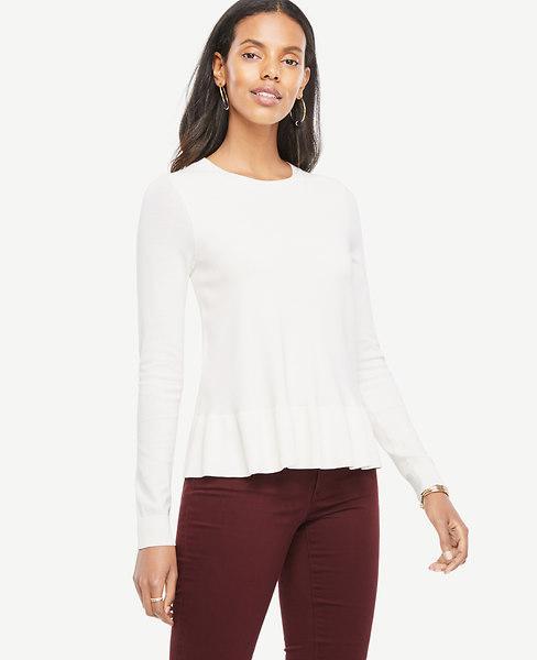 Ann Taylor Petite Ruffle Hem Sweater In Winter White