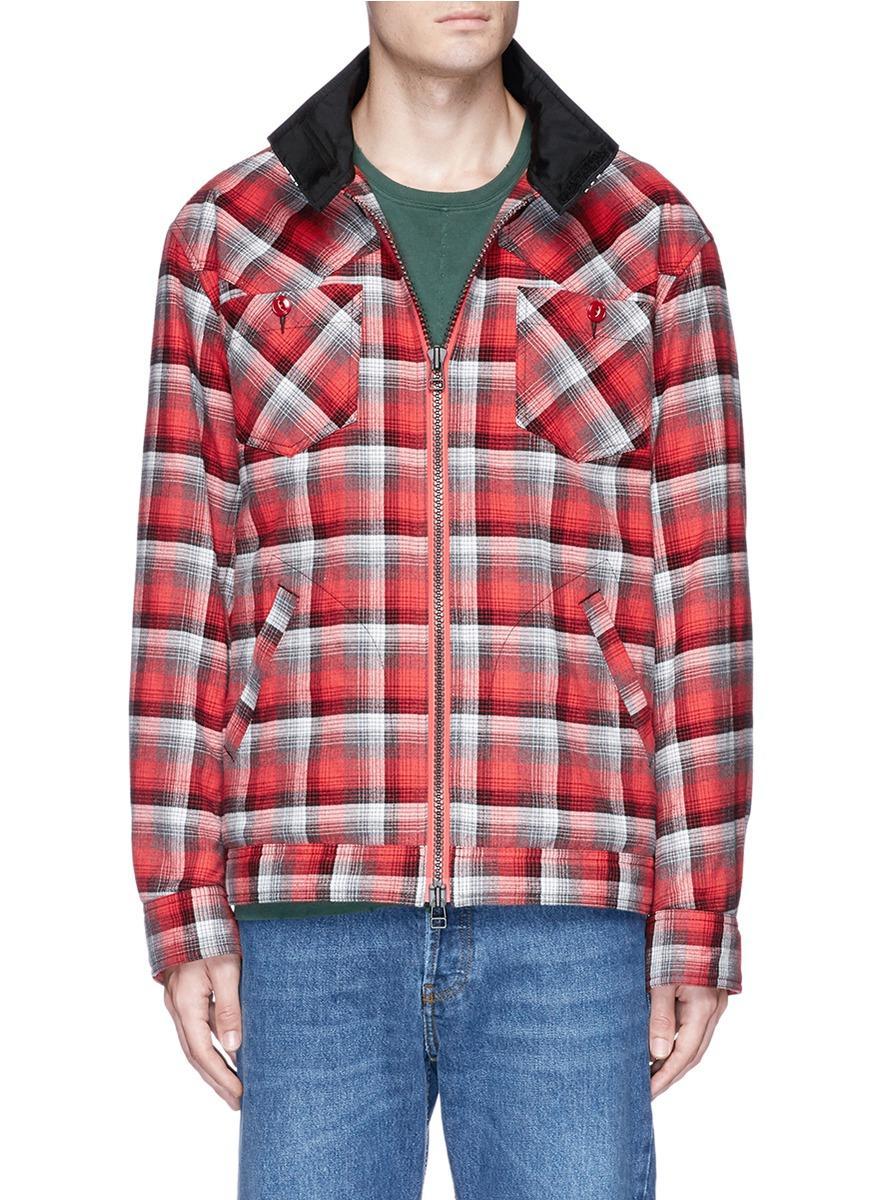 Facetasm Stripe Throatlatch Check Plaid Padded Jacket