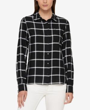 Tommy Hilfiger Checked Button-front Shirt, Created For Macy's In Black/white