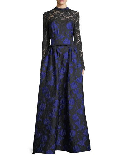 Tadashi Shoji Long-sleeve Lace-yoke Floral Brocade Ball Gown In Royal/black