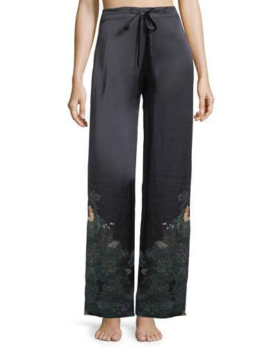 Meng Floral-print Silk Pajama Pants In Multi Pattern
