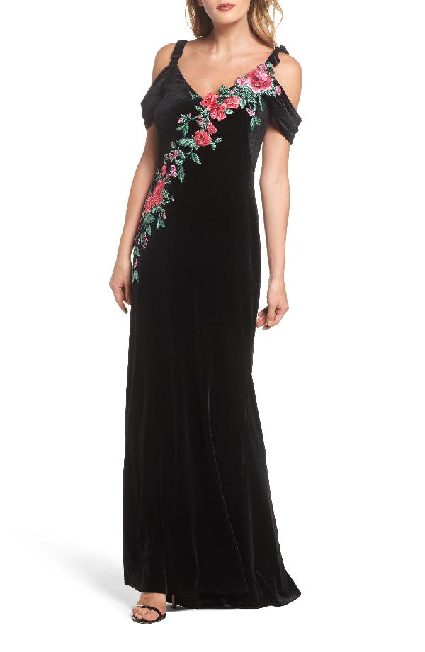 Tadashi Shoji Cold-shoulder Velvet Evening Gown W/ Floral Appliqué In Black