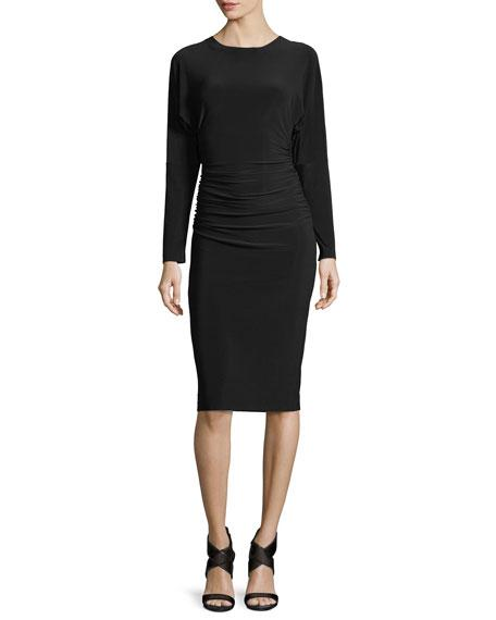Norma Kamali Dolman-sleeve Shirred-waist Cocktail Dress In Black