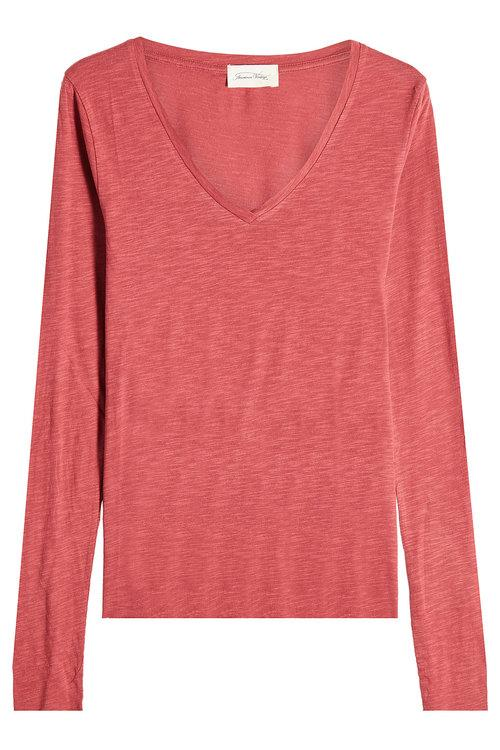 American Vintage V-neck Top With Cotton In Magenta