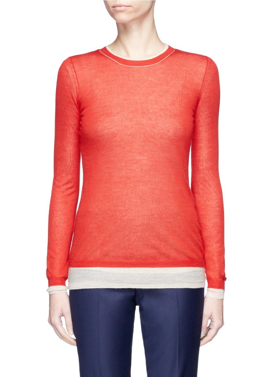 Gabriela Hearst 'wells' Reversible Layered Cashmere-silk Sweater