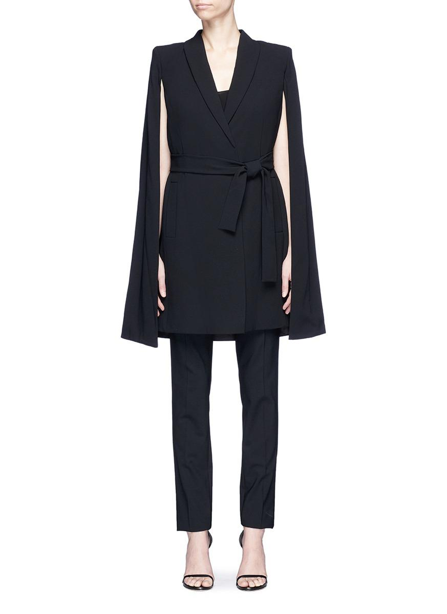 Alice And Olivia 'mcguire' Belted Cape Overlay Long Suiting Coat