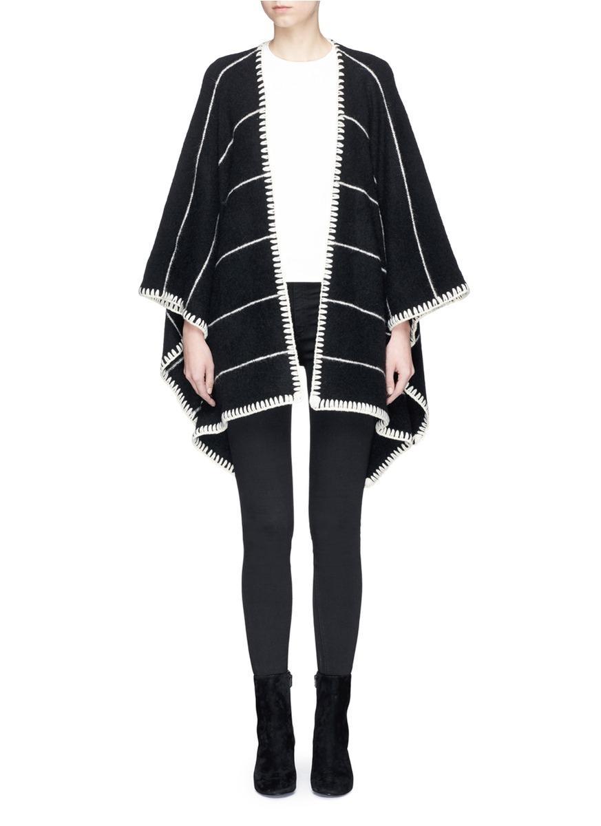 Alice And Olivia 'kamala' Stripe Oversized Brushed Knit Poncho In Black