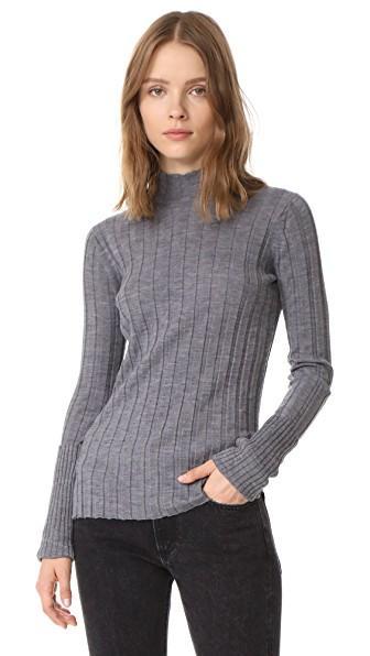 Theory Wide Rib Mock Sweater In Mid Grey