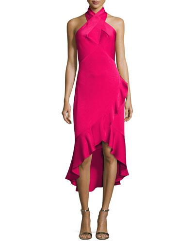 Shoshanna Evelina Crepe Halter Cocktail Dress, Raspberry