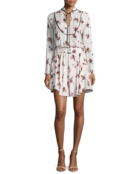 A.l.c Campbell Long-sleeve Floral Silk Dress, Light Pink/multicolor In Light Pink Multi