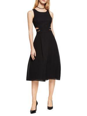 Bcbgmaxazria Jacquard Cutout Dress In Black
