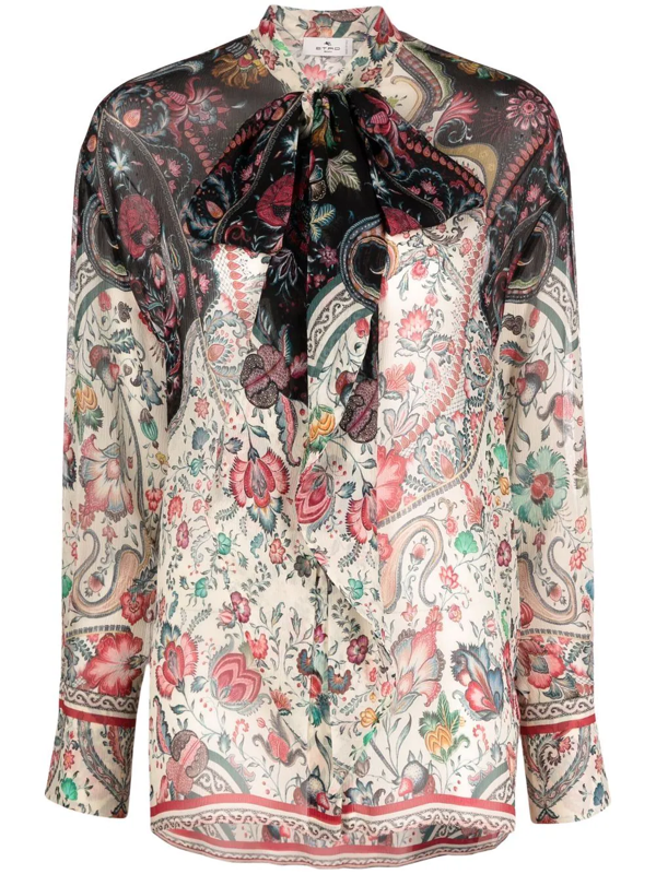 Etro Crépon Shirt With Ribbon And Floral Pattern In Nude